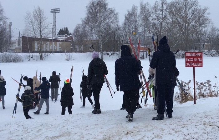 Выход на лёд запрещён Нижний Новгород, Лыжи, Озеро