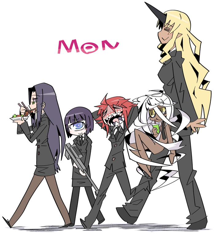 All members of M.O.N.(excluding Doppel and Smith) Monster Musume No Iru Nichijou, Cyclops Girl, Zombie Girl, Ogre, Doppel, Ms smith, Аниме, Арт, Гифка, Длиннопост