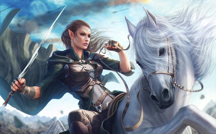 Эльфийка-воительница Арт, Рисунок, Эльфийка, Воительница, Лошади, Меч, Кольчуга, Фэнтези