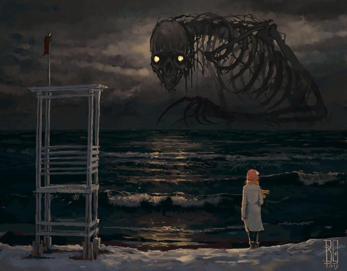 Холодное море Арт, Рисунок, Море, Существо, Борис Грох