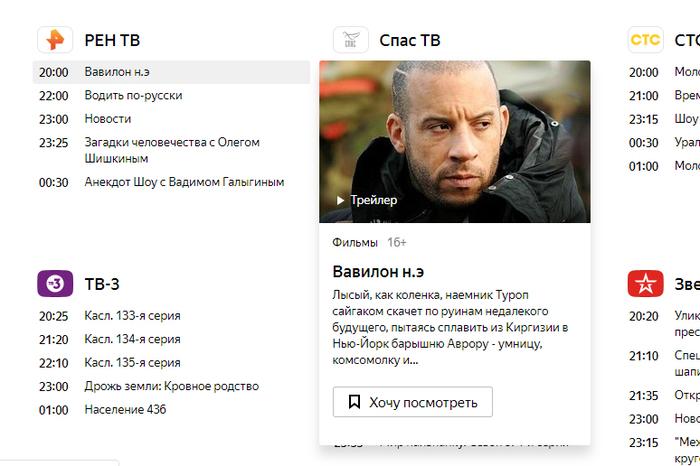 Креативный пересказ фильма от программы передач на Яндексе Фильмы, Телепрограмма