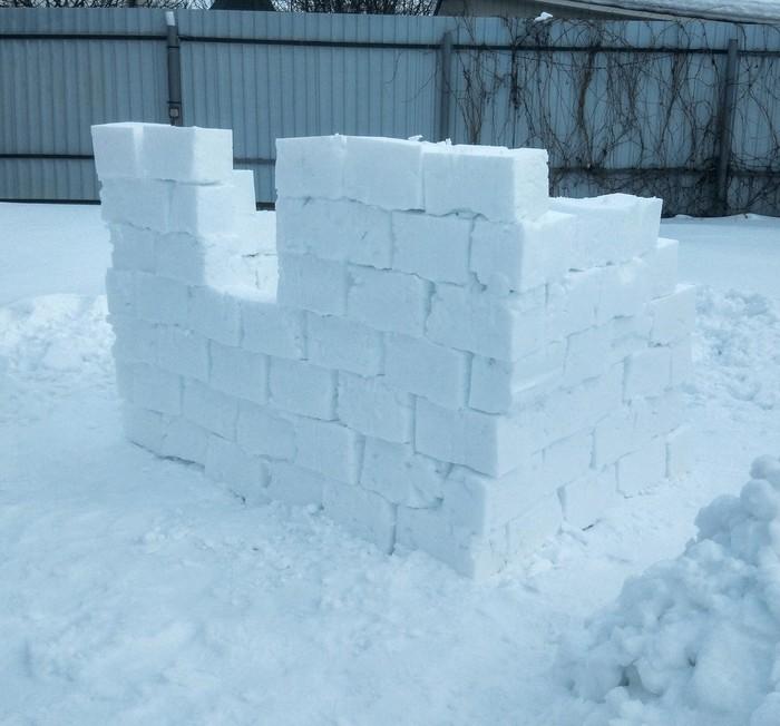 Крепость из снега Крепость, Снежная скульптура, Отцы и дети