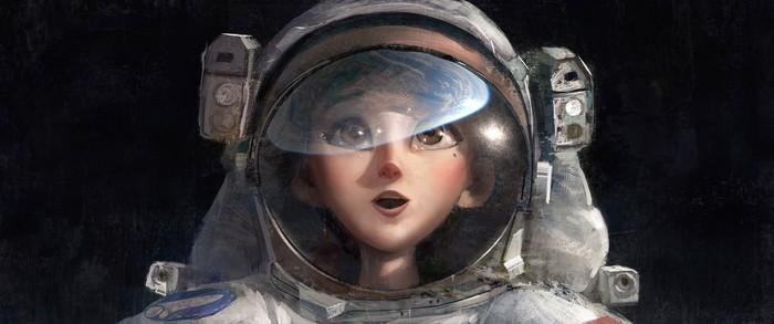 Один маленький шаг Арт, Рисунок, Астронавт
