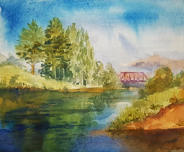 Мост в Вырице Рисунок, Пейзаж, Акварель, Лето, Река, Мост, Природа, Вырица