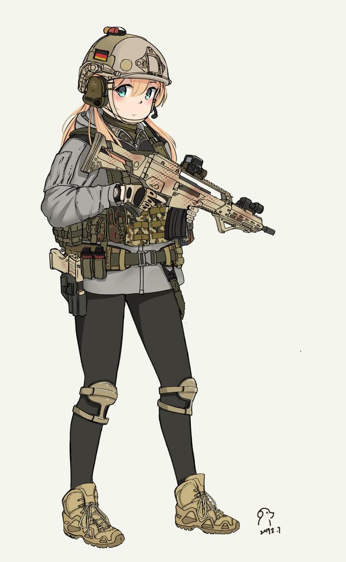 Kommando Spezialkraefte or Tactical Pudding Anime Art, Аниме, Kantai Collection, Prinz Eugen, Милитари