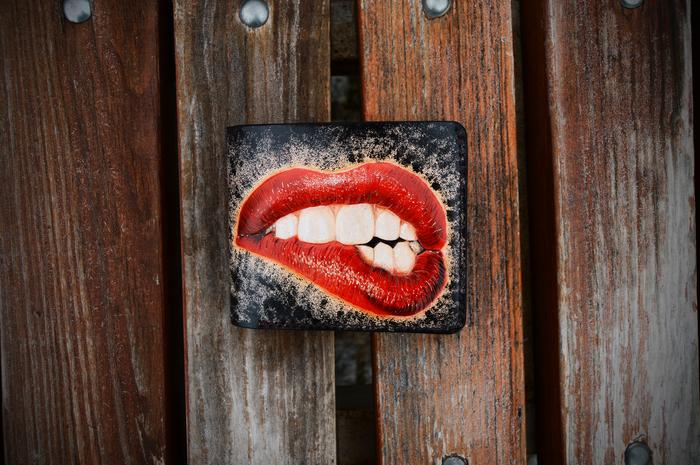 Кошелек для стоматолога. Улыбка, Зубы, Тиснение, Кожа, Кошелек, Длиннопост