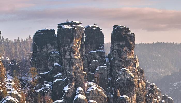 Рассвет в Саксонской Швейцарии Швейцария, Саксония, Горы, Зима, Лес, Фотография, Природа