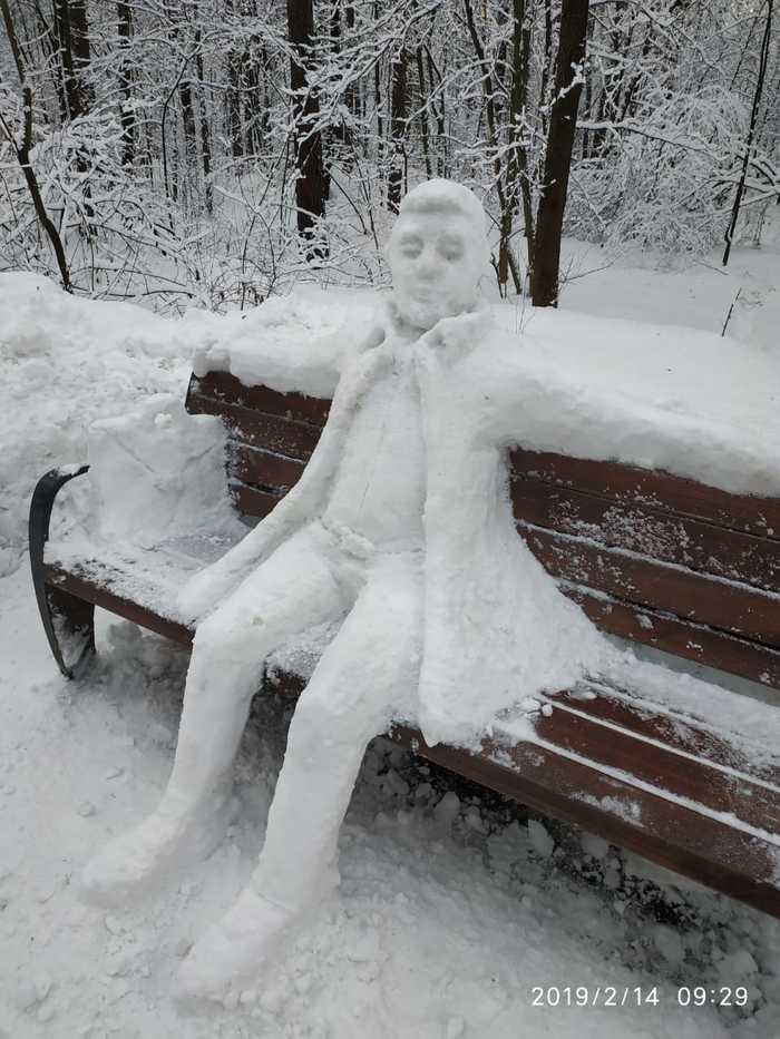 Присаживайтесь, поговорим. Скульптура, Снег