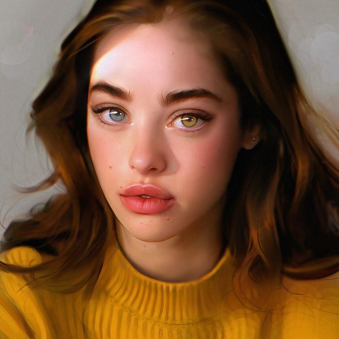 Портрет девушки. Портрет, Девушки, Глаза, Гетерохромия, Арт, Digital