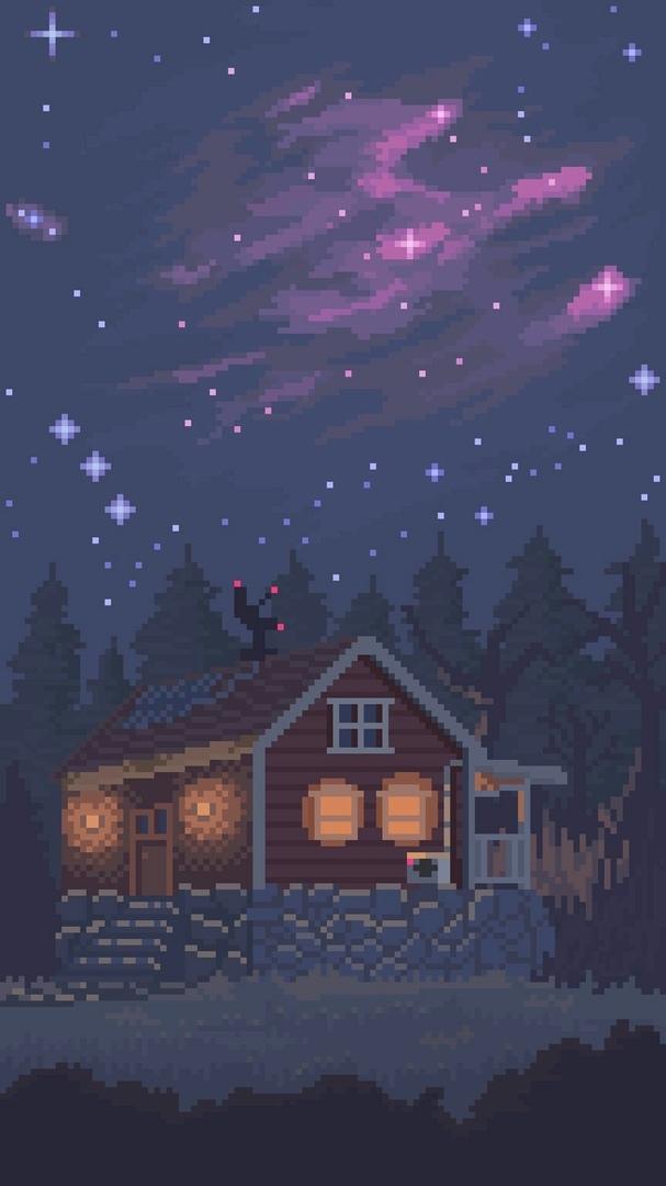 Пиксельные обои на смартфон Pixel Art, Обои на рабочий стол, Pixels, Обои, Обои на телефон, Пиксель, Небо, Дом в лесу