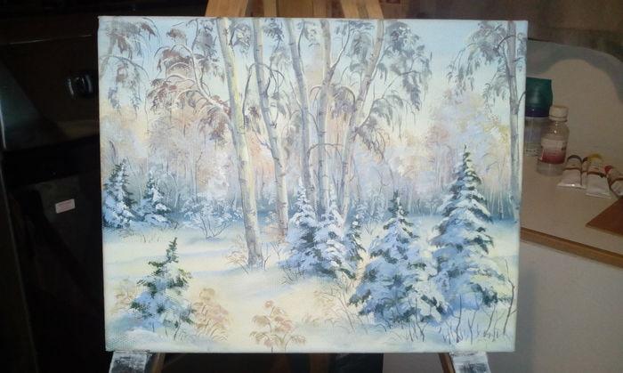 Снежный лес Масло, Пейзаж, Картина, Хобби, Творчество, Своими руками