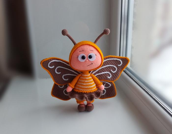 Вязаная бабочка. В ожидании весны. Вязание, Рукоделие без процесса, Амигуруми, Рукоделие, Кукла, Бабочка, Вязание крючком, Длиннопост, Своими руками