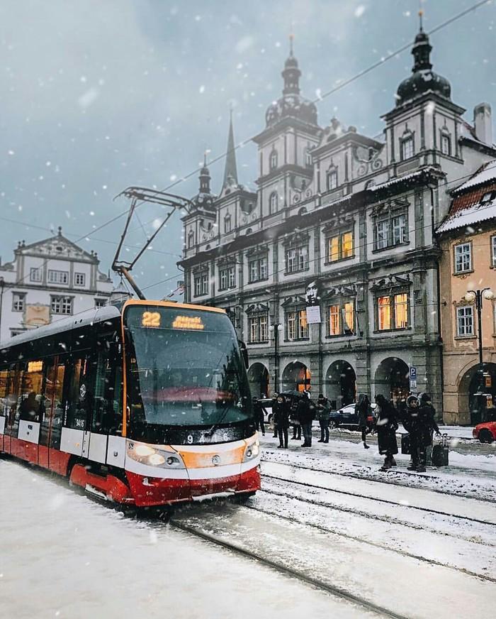 Снег в Мала-стране, Прага.