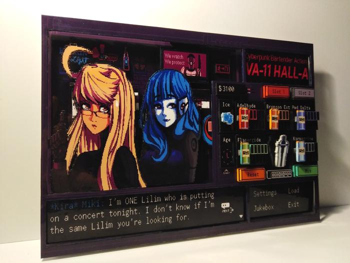 Диорама по игре VA-11 Hall-A: Cyberpunk Bartender Action(Версия Альма Армас/Кира Мики) Диорама, Va-11 hall-a, Визуальная новелла, Киберпанк, Длиннопост