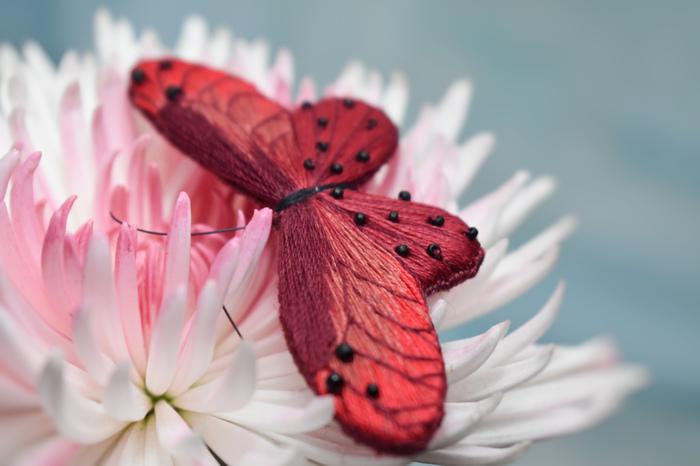 Бабочки Рукоделие без процесса, Бабочка, Весна, Вышивка, Брошь, Длиннопост