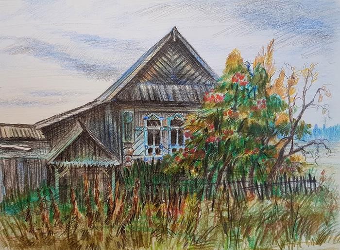Брошенный дом Рисунок, Цветные карандаши, Деревня, Пейзаж, Дом, Деревянный дом