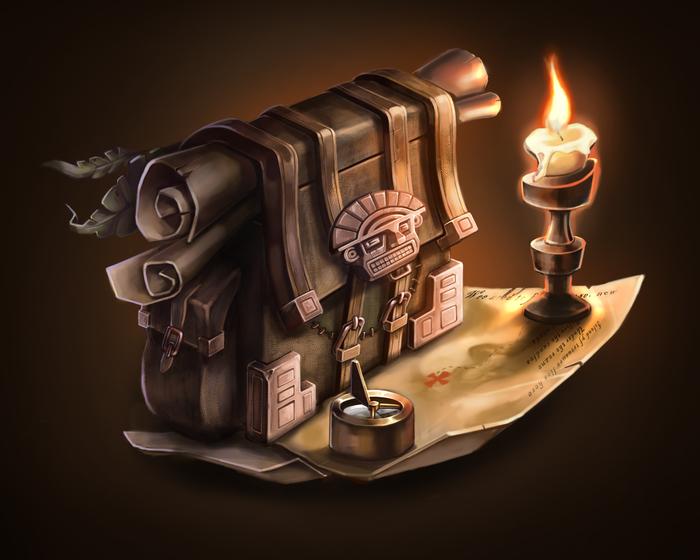 Сундучок искателей. Еще CG. Game Art, Photoshop, Цифровой рисунок, Рисунок, Карта сокровищ, Сумка