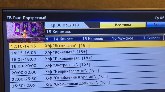Программа передач на тв Телевидение, Фильмы