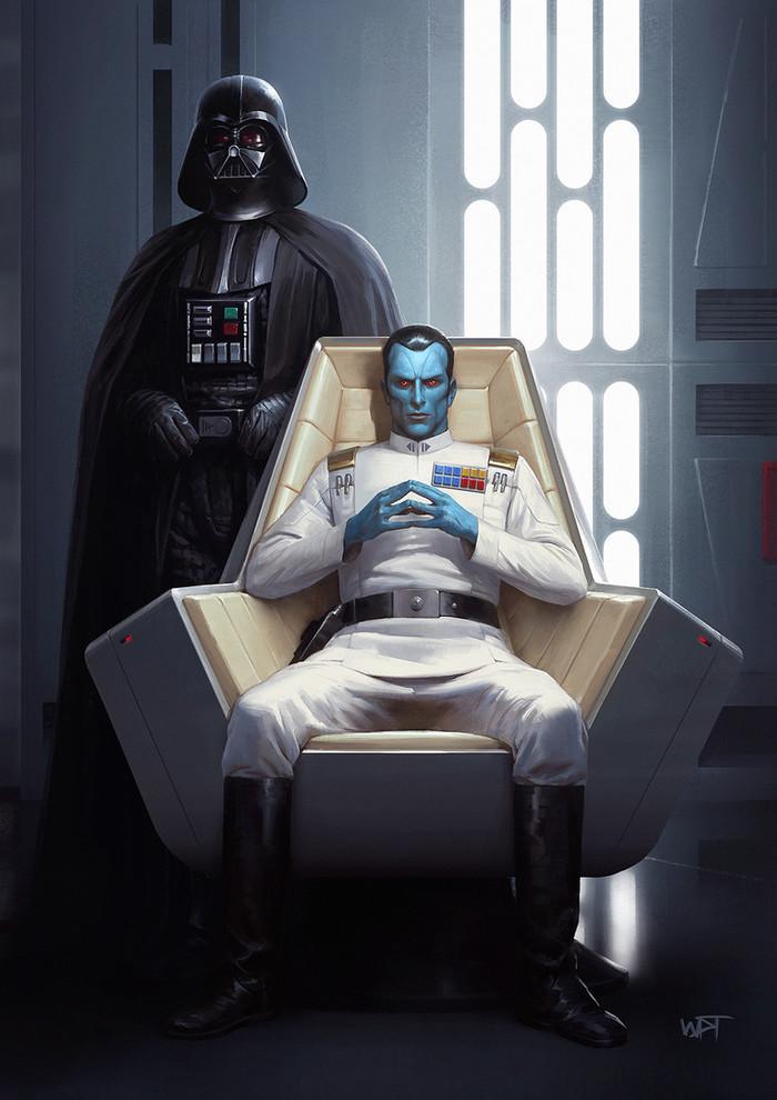 Дарт Вейдер и Гранд-Адмирал Траун Star Wars, Митт'рау'нуруодо, Траун, Дарт Вейдер, Арт, Darren Tan