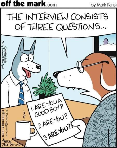Интервью песика на свободную вакансию Собака, Комиксы, Offthemark, Интервью