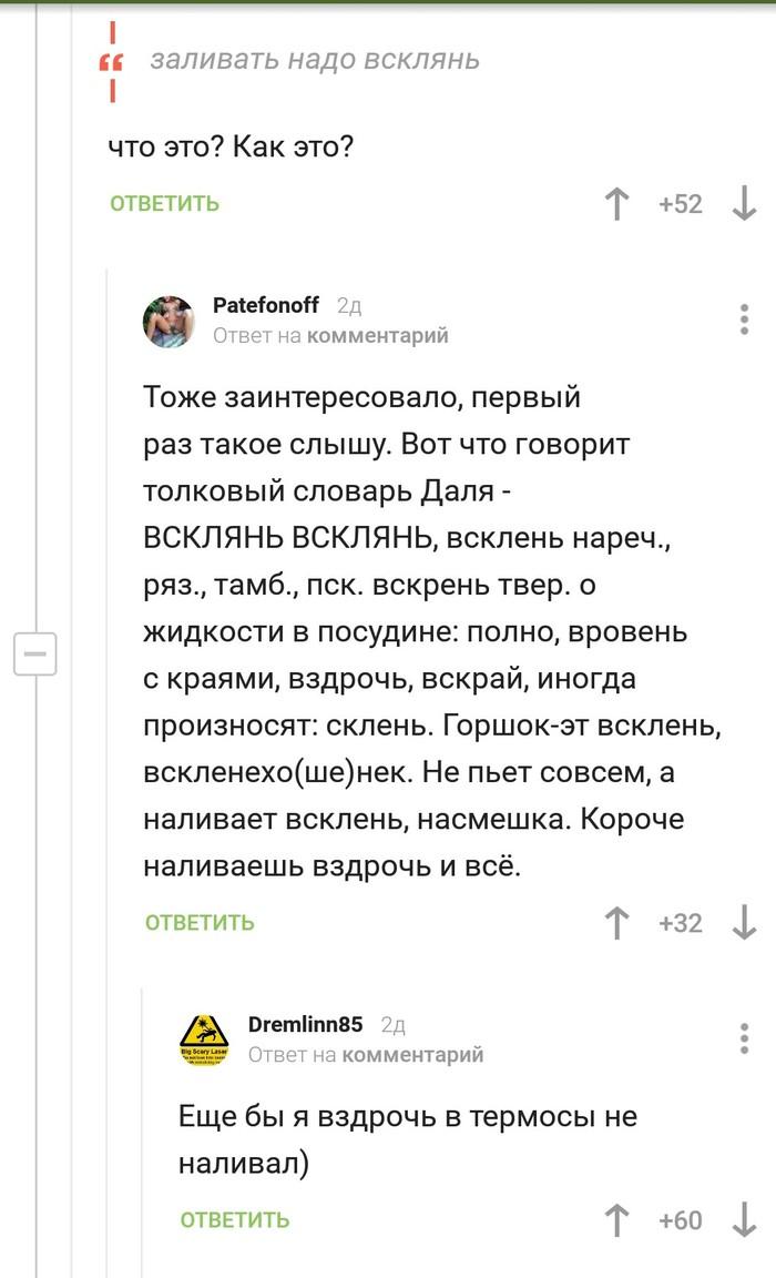 Особенности русского языка. Скриншот, Даль, Комментарии на Пикабу, Лингвистика