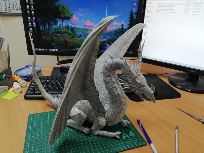 Дракон из бумаги Papercraft, Рукоделие без процесса, Дракон, Длиннопост