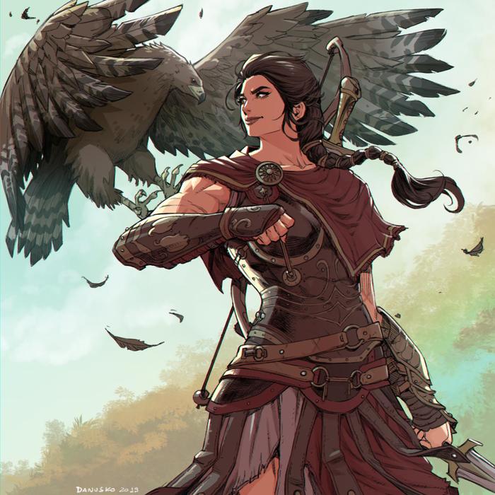 Kassandra Danusko, Арт, Крепкая девушка, Assassins Creed Odyssey, Assassins Creed, Kassandra, Воительница