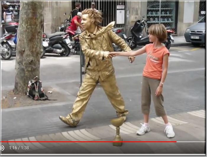 Уличный артист Артист, Улица, Статуя, Барселона, Гифка