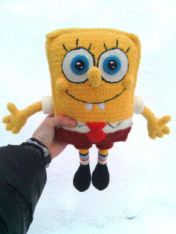 Губка Боб Спанч Боб, Мягкая игрушка, Вязание, Продажа, Ручная работа, Длиннопост