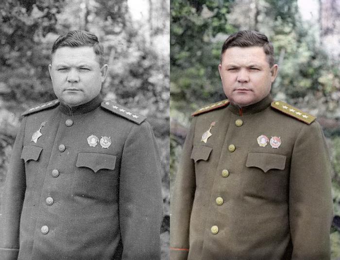 Моя колоризация Колоризация, Великая Отечественная война, Генерал Ватутин, Герой Советского Союза, Длиннопост