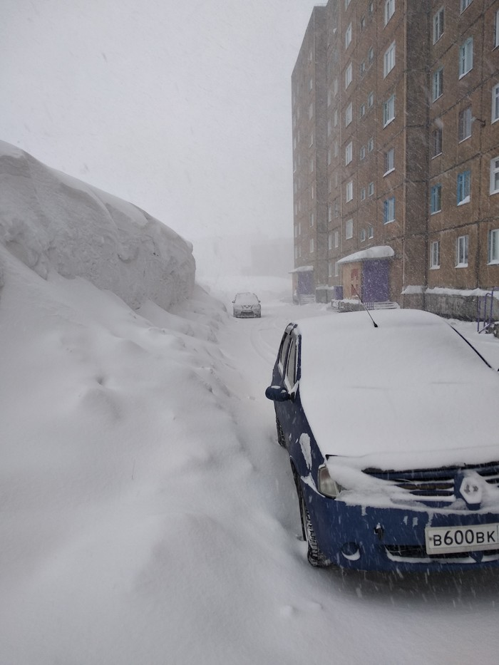 А вот вам сугробы из Норильска Снегопад, Норильск, Весна