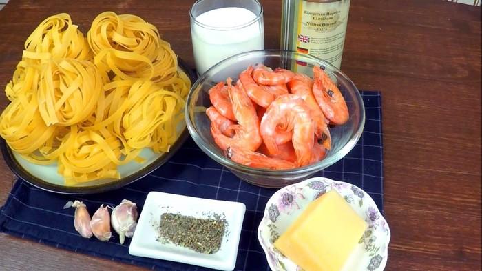 Паста в сливочном соусе с креветками С дедом за обедом, Паста, Вкусно, Быстро, Рецепт, Видео, Длиннопост, Креветки