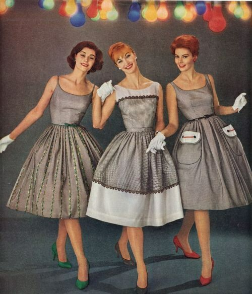 Летние платья 1950-х годов Мода, Красивые платья, 50-е, Винтаж, Длиннопост, Ретро
