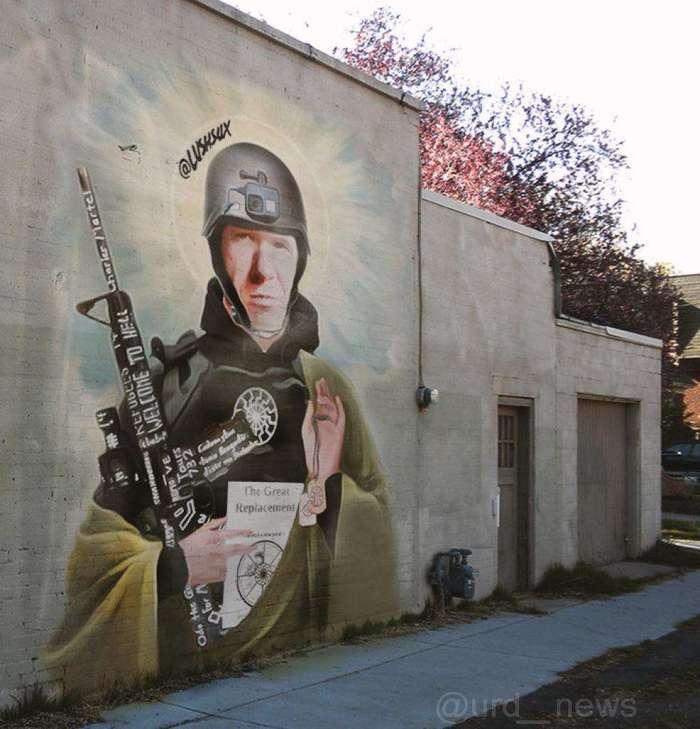 Уличные художники рисуют новозеландского стрелка Австралия, Мурал, Брентон Таррант, Негатив