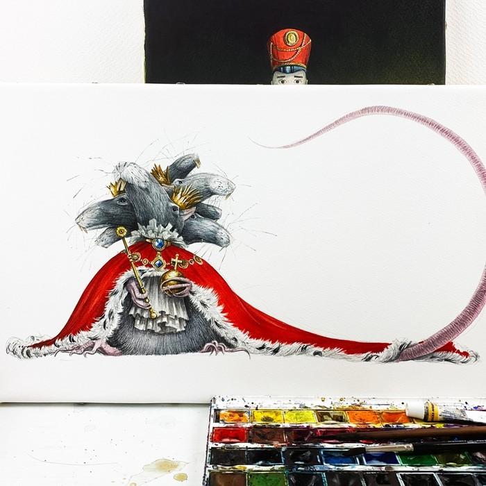 Мышиный Король Акварель, Краски, Сказка, Рисунок, Мышиный король, Щелкунчик, Живопись, Длиннопост, Иллюстрации