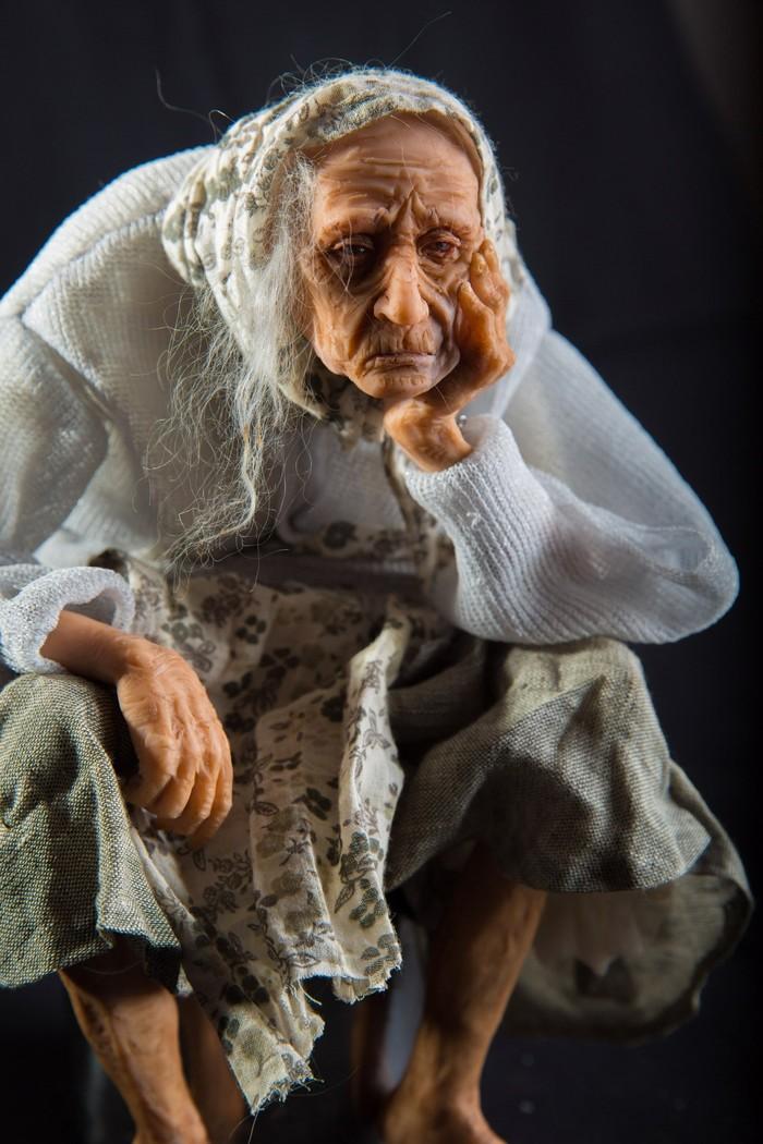 Авторская кукла ручной работы. Думы о былом. Своими руками, Скульптура, Старость, Длиннопост