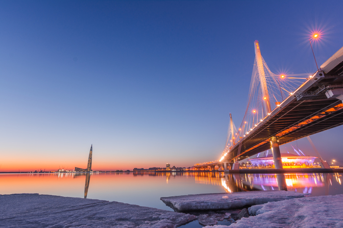 На фоне красного заката Закат, Nikon, Санкт-Петербург, Нева, Мост, Река, Огни ночного города, Вечер
