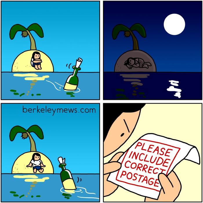 Почтовая бюрократия даже если посылаешь бутылку Комиксы, Berkleymews, Почта, Необитаемый остров