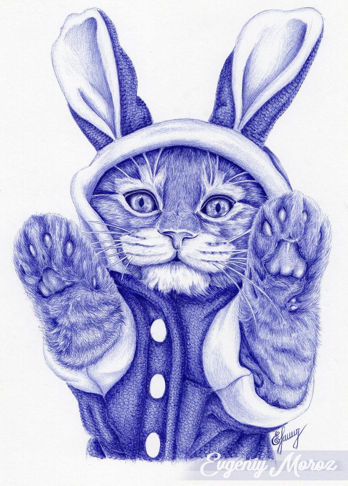 Киса Рисунок, Кот, Шариковая ручка, Графика, Милота, Рисунок ручкой, Животные, Костюм
