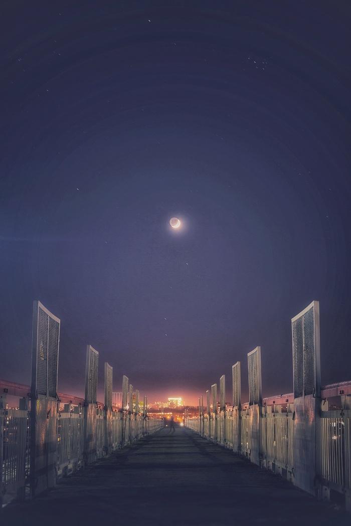 Лунный переход Фотография, Ночь, Мост, Луна, Переход