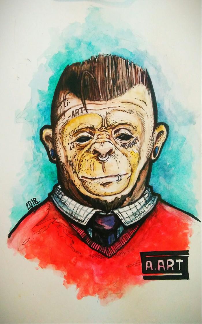 Monkey Арт, Рисунок, Акварель, Обезьяна, Длиннопост, Антро