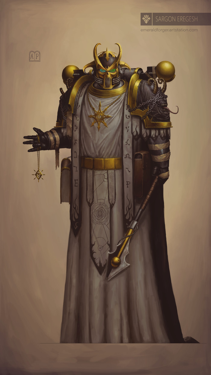 Саргон Эрегеш, Второй в Эзекарионе. Прелат Долгой Войны. Chaos Space marines, Black Legion, Warhammer 40k, Word bearers, Хаос, Длиннопост