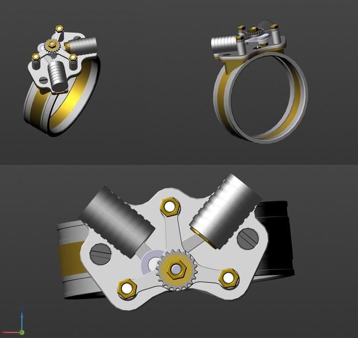 Кольцо с двумя поршнями. Процесс создания. Фотоотчёт. Рукоделие с процессом, Ручная работа, Кольцо, Поршни, Стимпанк, Дизельпанк, Видео, Длиннопост