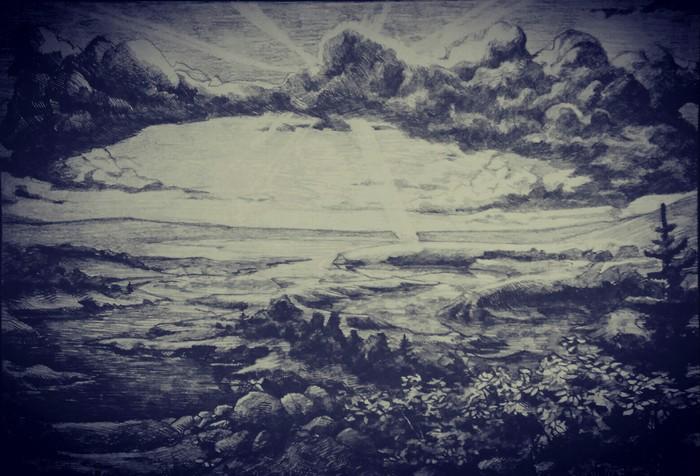 Пейзаж Арт, Рисунок, Пейзаж, Природа, Рисунок карандашом
