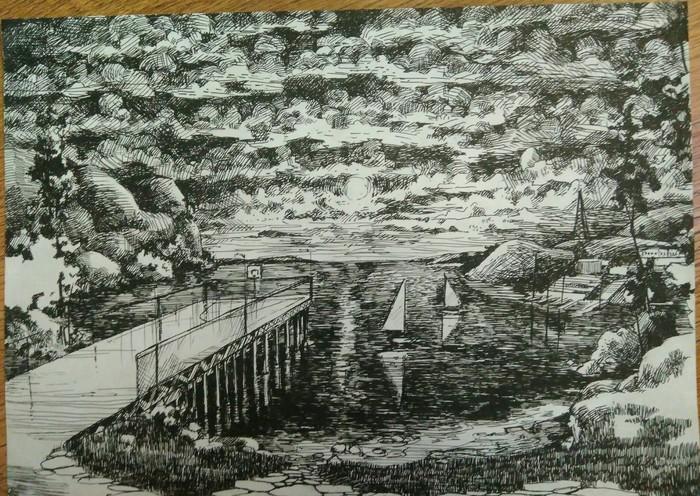 Озера Пейзаж, Рисунок карандашом, Рисунок ручкой, Рисунок, Творчество, Длиннопост, Графика, Водоем, Причал