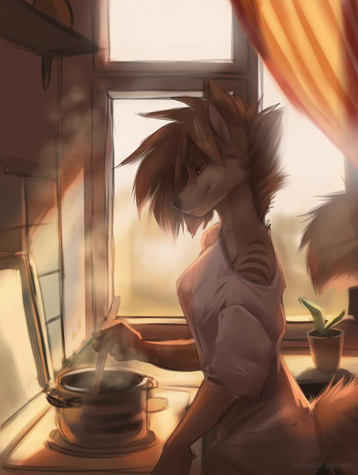 Теплое утро Koul Fardreamer, Furry Art, Фурри, Арт