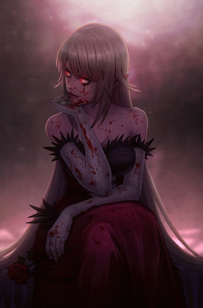 Кровавая королева Аниме, Anime Art, Monogatari series, Kiss-Shot