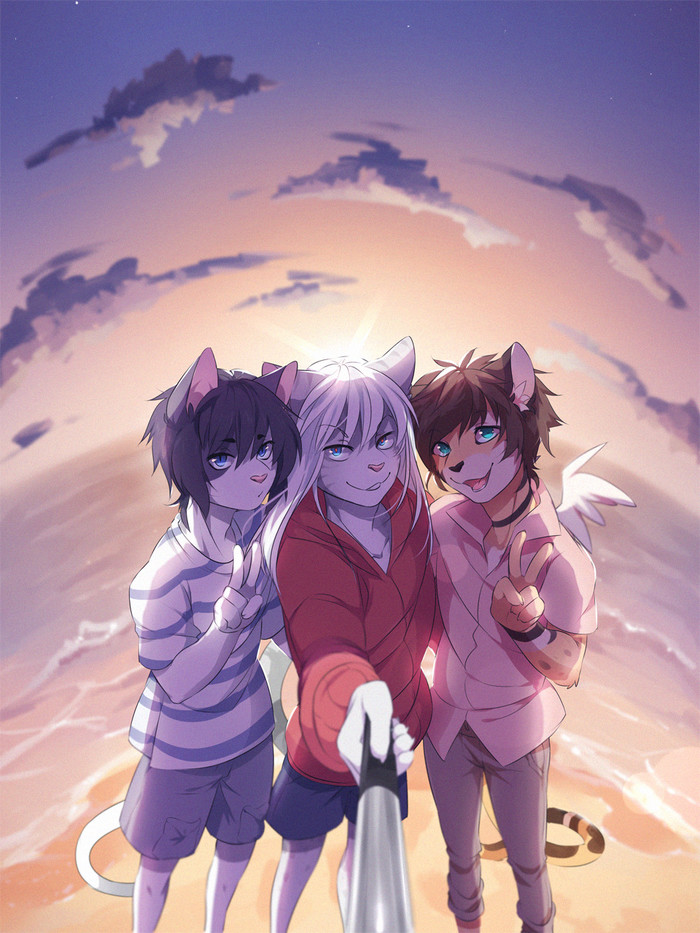 Cats selfie Фурри, Furry Art, Furry Feline, Furry Cat, Пляж, Селфи, Triple Selfie, Fumiko
