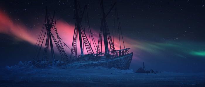 Сияние Арт, Рисунок, Корабль, Северное сияние, Амундсен, Nikolai Lockertsen