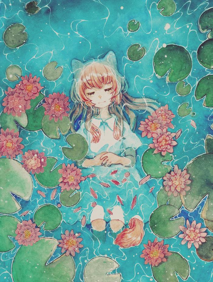 Кувшинки Anime Original, Аниме, Акварель, SAI, Рисунок, Вода, Девушки, Кувшинка